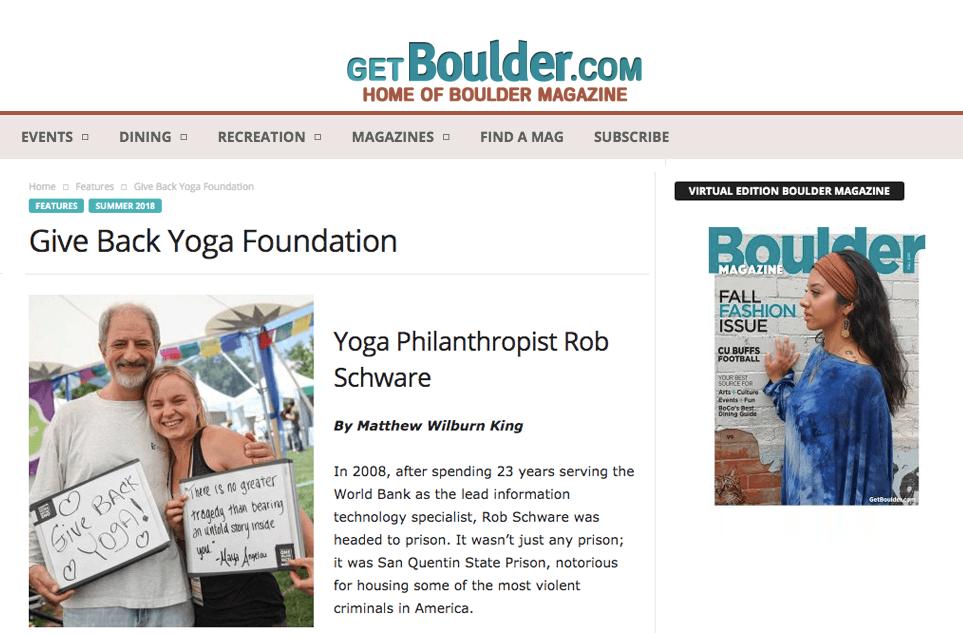 Give Back Yoga Foundation: Yoga Philanthropist Rob Schware | Boulder Magazine