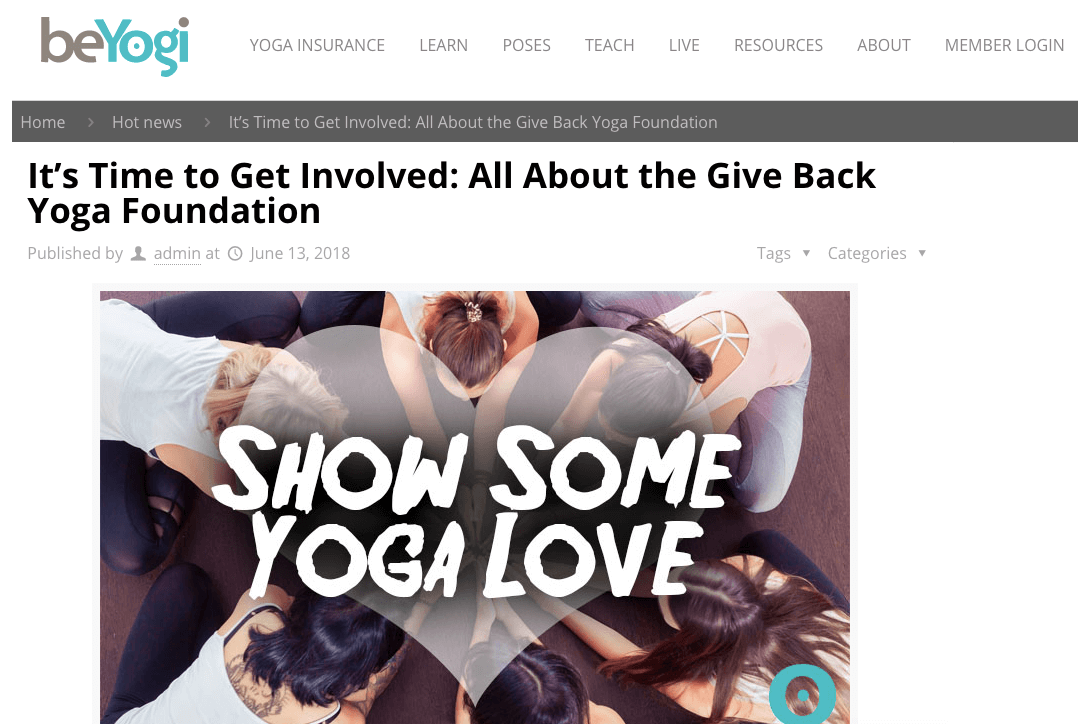 It's Time to Get Involved: All About the Give Back Yoga Foundation | beYogi