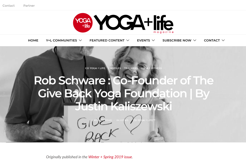 Rob Schware – Co-Founder of The Give Back Yoga Foundation | YOGA + Life Magazines